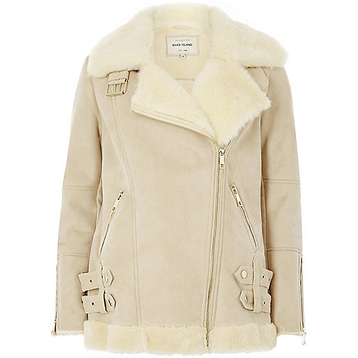 Cream faux suede aviator jacket