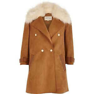 Brown faux fur collar coat