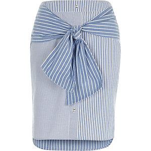 Blue stripe tie front skirt