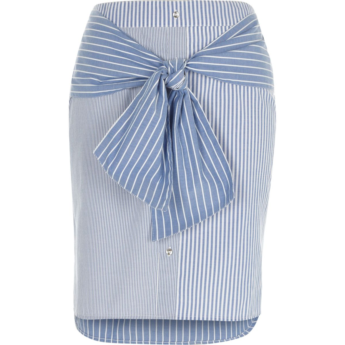 Blue stripe tie front skirt