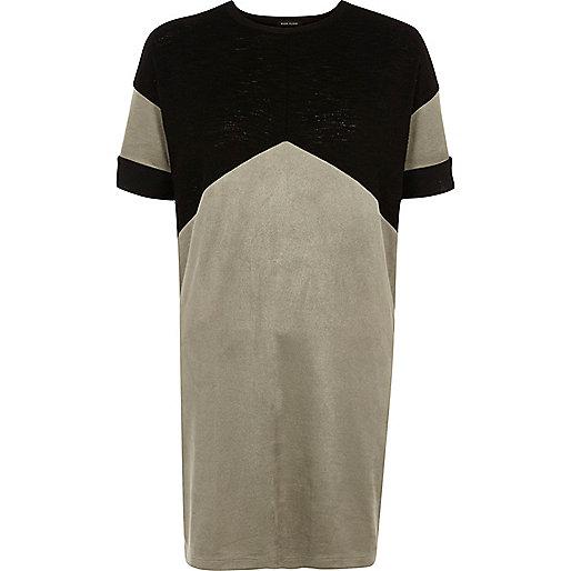 Black color block chevron oversized T-shirt
