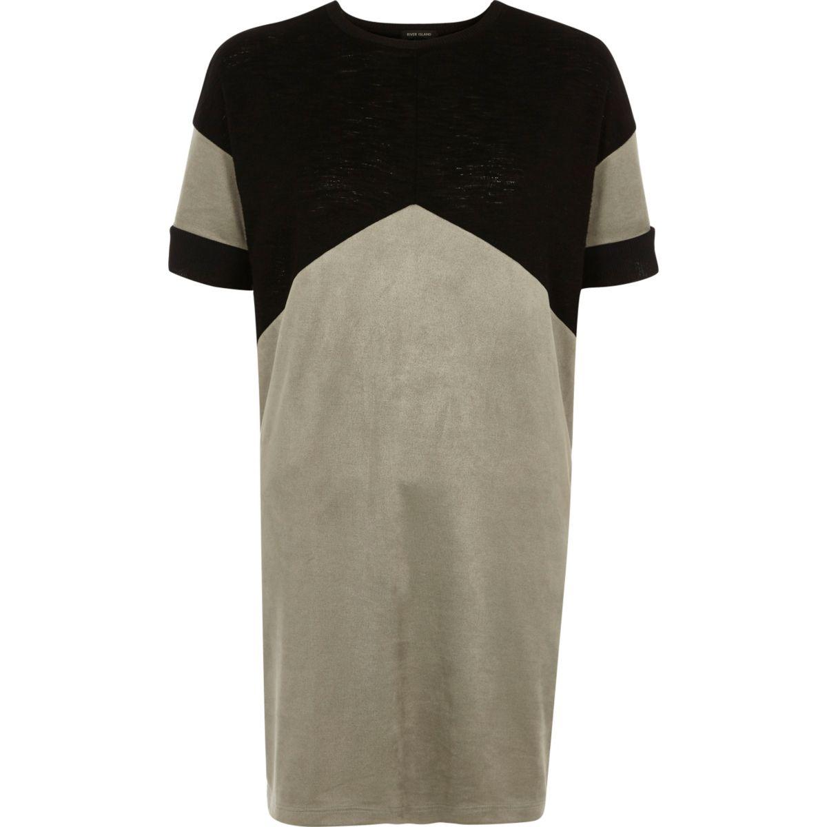 Black colour block chevron oversized T-shirt