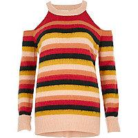 Pink stripe knit cold shoulder sweater