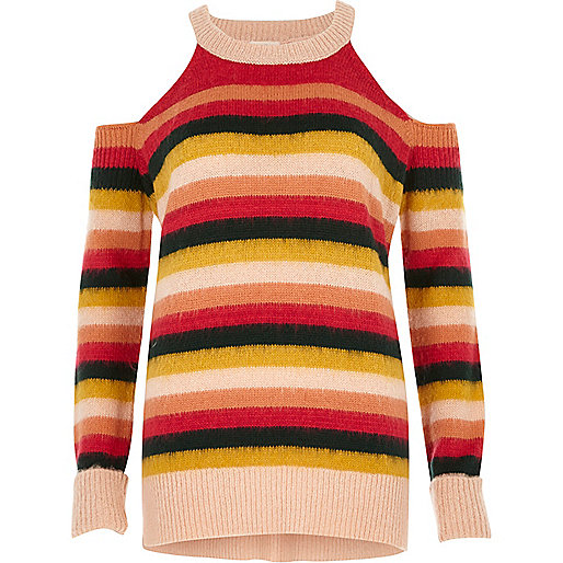 Pink stripe knit cold shoulder jumper