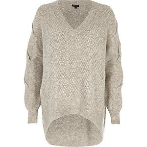 Grijze oversized gebreide pullover met V-hals
