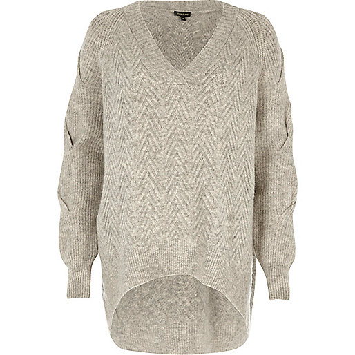 Grey oversized V-neck knit jumper