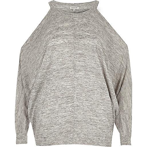 Grey marl cold shoulder batwing top