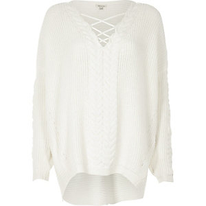 Cream cable knit lace-up front sweater