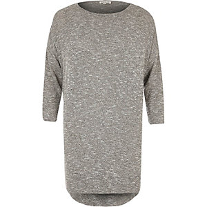 Grey marl longline tunic top