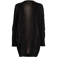 Black chiffon back knit cardigan
