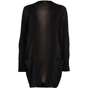 Black chiffon back knit cardigan