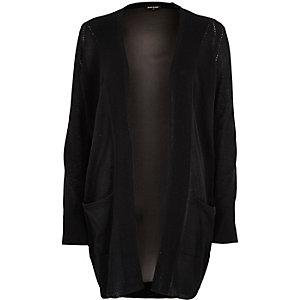 Cardigan en maille noir avec dos en mousseline