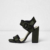 Khaki green satin block heel sandals