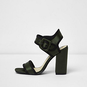 Khaki green satin block heel sandals