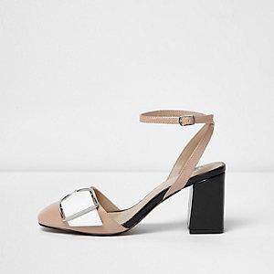 Nude ankle strap buckle block heels
