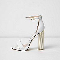 White barely there platform sandals