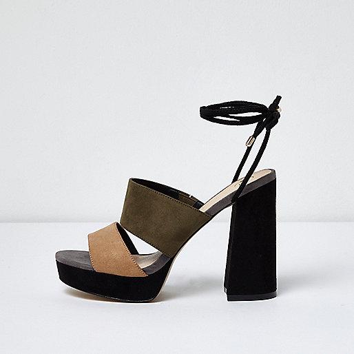 Black tie ankle platform mules