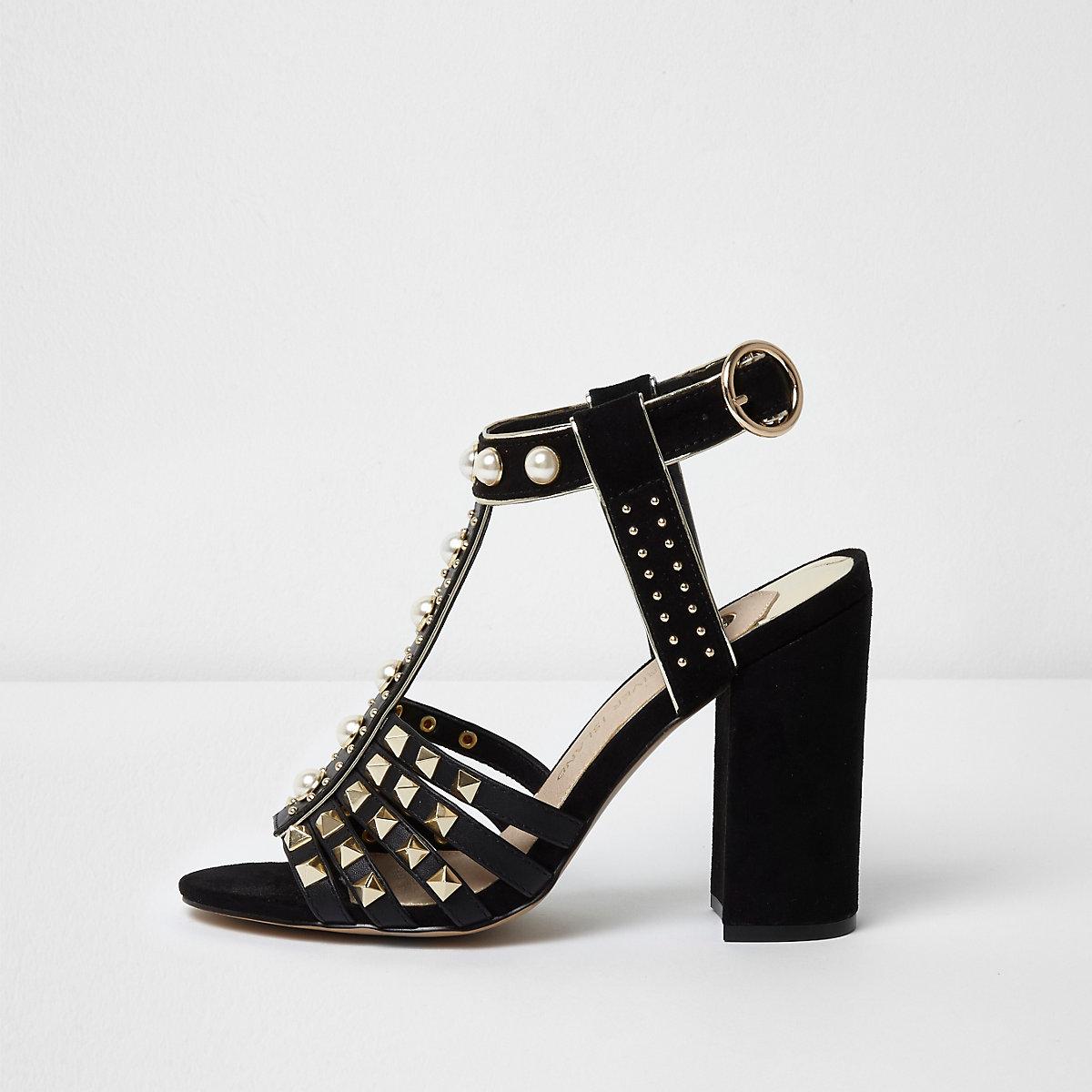 Black stud T-bar block heel sandals - Sandals - Shoes   Boots - women