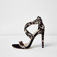 Leopard print caged strap sandals