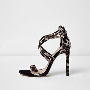 Leopard print caged strap sandals
