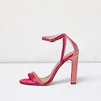 Roze minimalistische sandalen met hak en uitsnedes