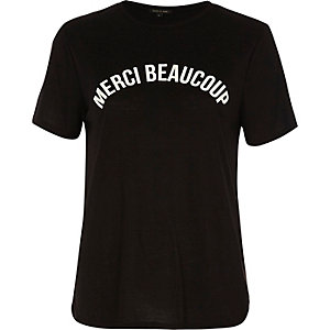 Zwart aansluitend T-shirt met print