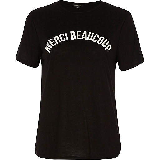 Black 'merci beaucoup' print fitted T-shirt