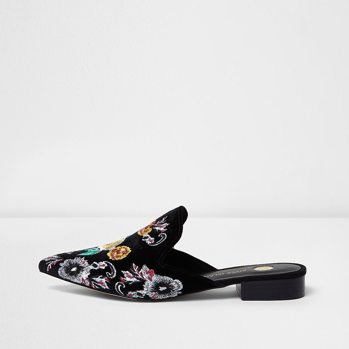 Black floral embroidered backless loafers