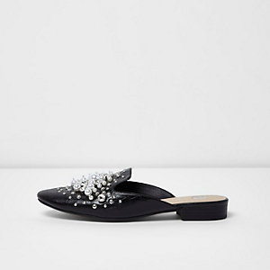 Black diamante and pearl backless loafers