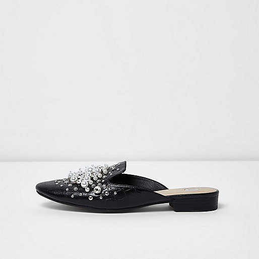 Black rhinestone and pearl backless loafers