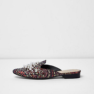 Pink jacquard pearl and bead backless loafers