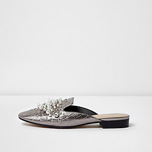 Silver rhinestone and pearl backless loafers