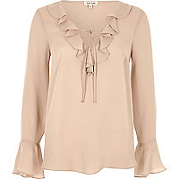 Nude frill blouse