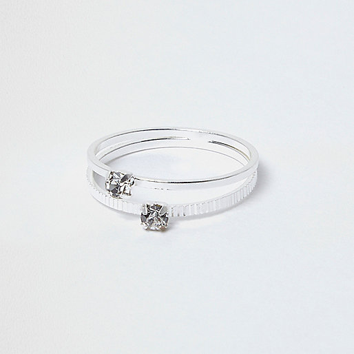 Silver tone crystal double row ring