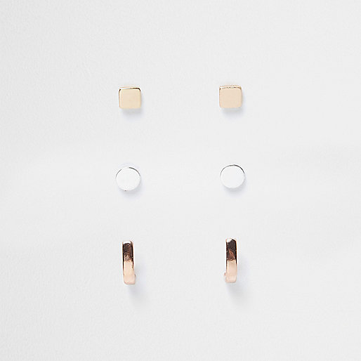 Rose gold and silver tone stud earrings pack
