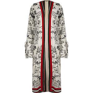 Kimono long imprimé fleuri crème avec manches nouées