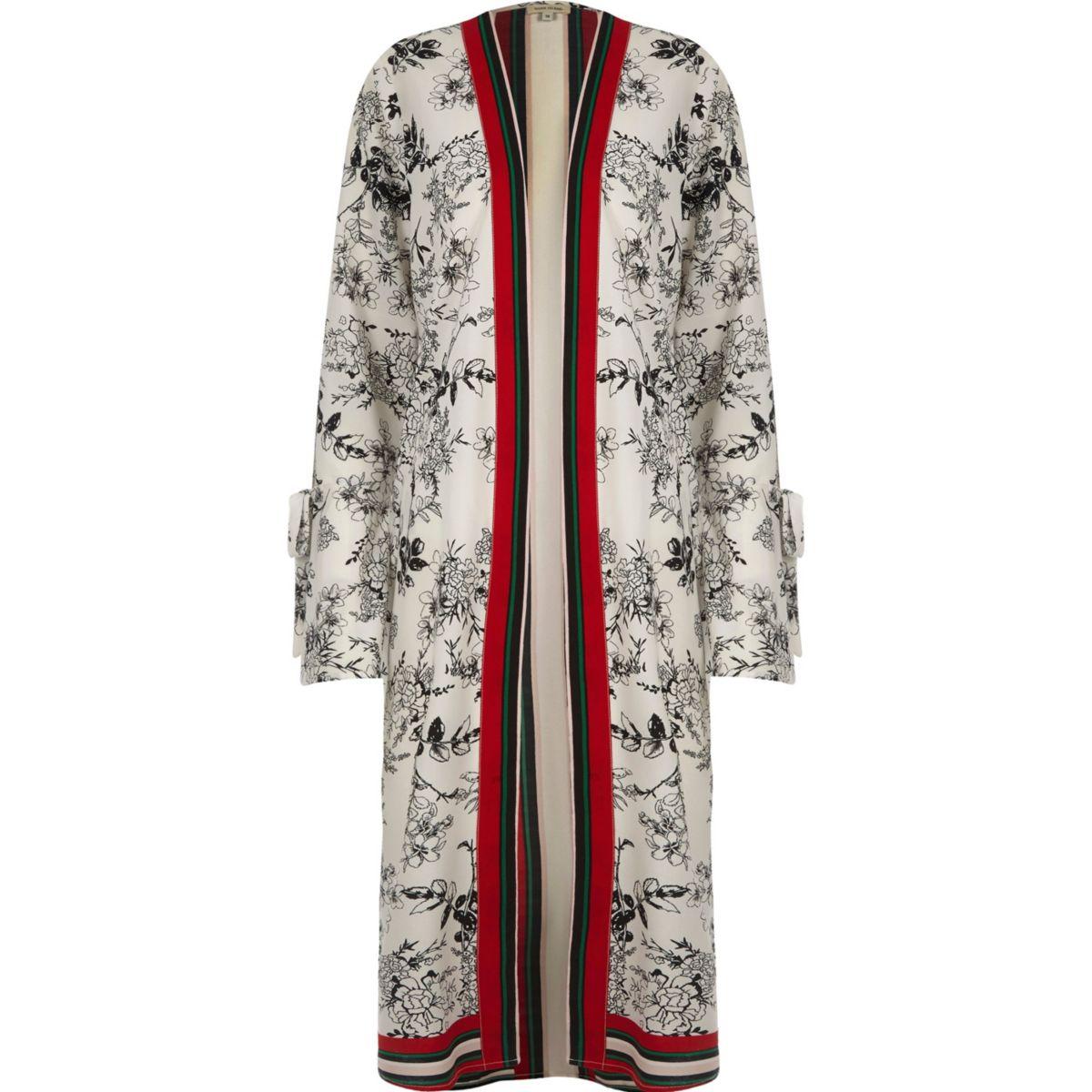 Cream floral print tie cuff longline kimono