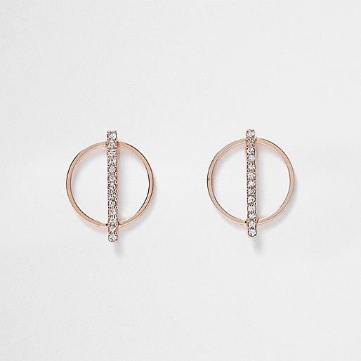 Rose gold tone circle rhinestone earrings