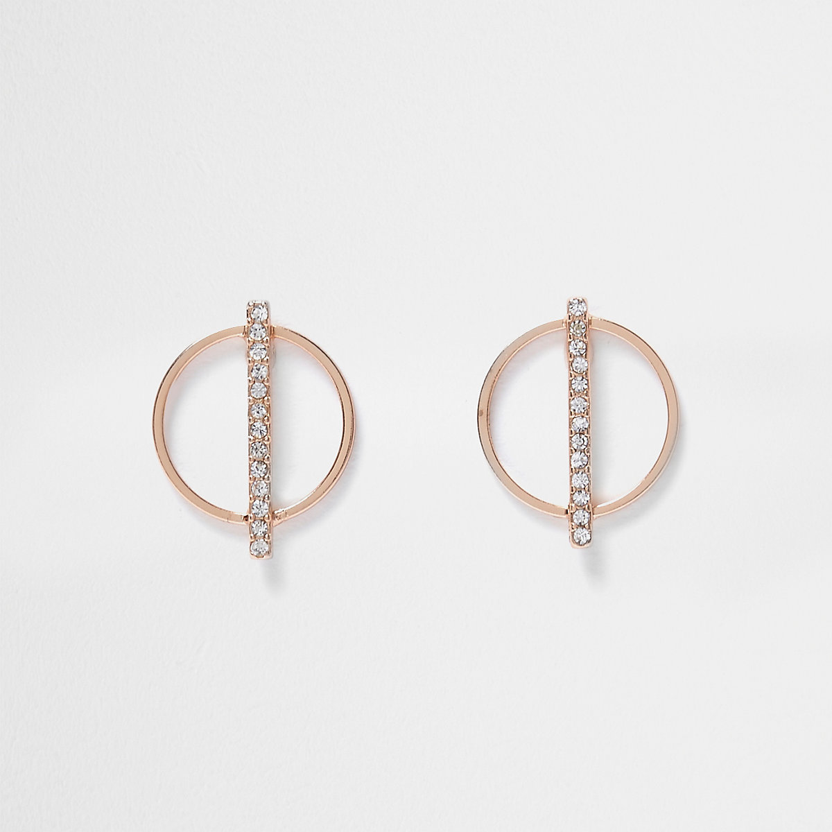 Rose gold tone circle rhinestone earrings