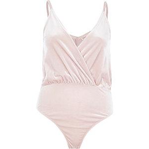 Light pink draped velvet bodysuit