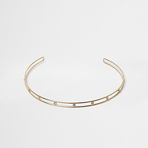 Gold tone crystal choker necklace