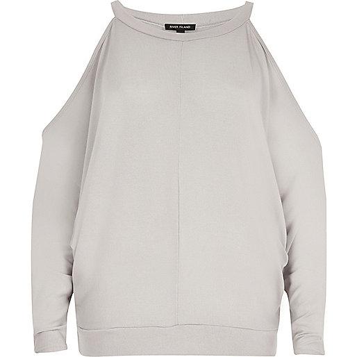 Grey cold shoulder batwing top