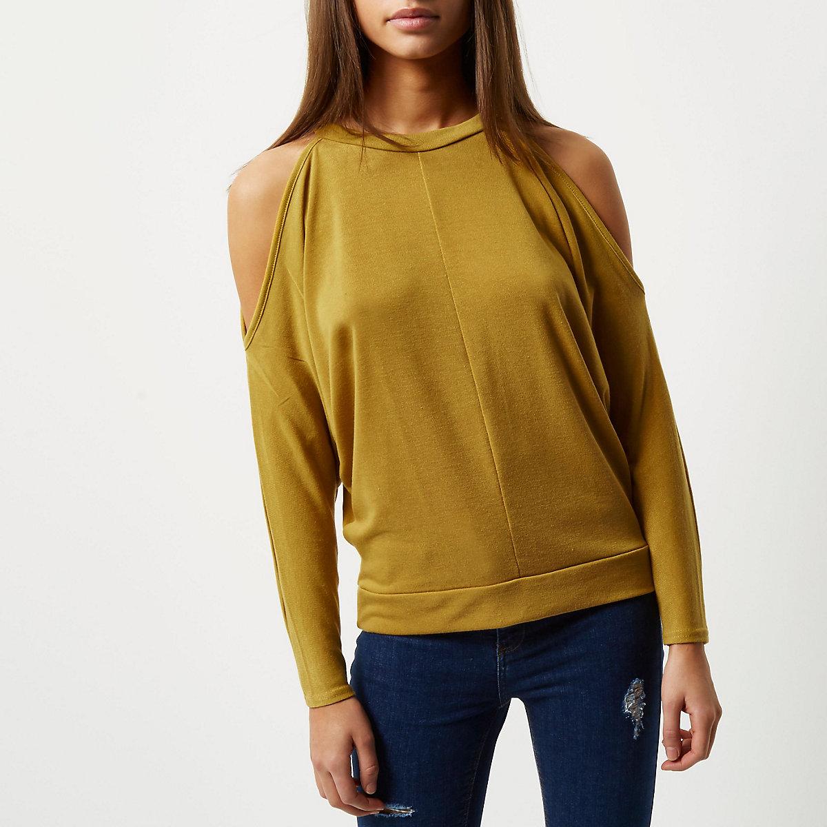 01d18abbc2ce71 Dark yellow cold shoulder batwing top - Knit Tops - Knitwear - women