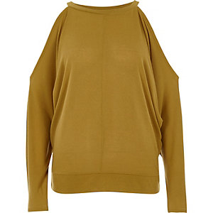 Dark yellow cold shoulder batwing top