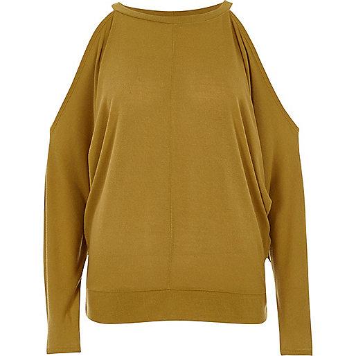 Dark yellow cold shoulder batwing top