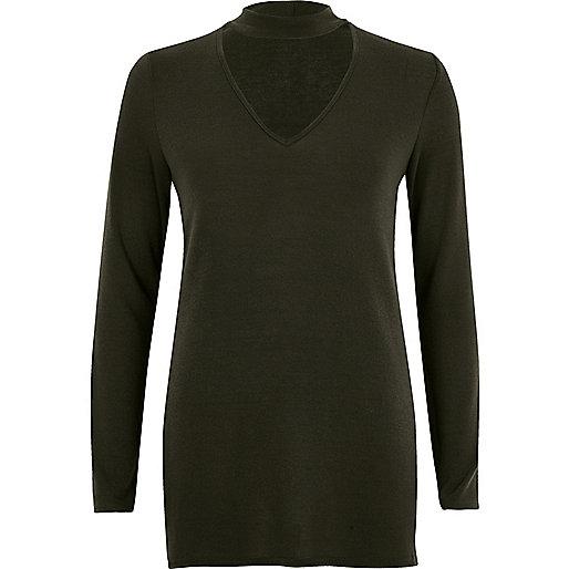 Khaki choker knit top