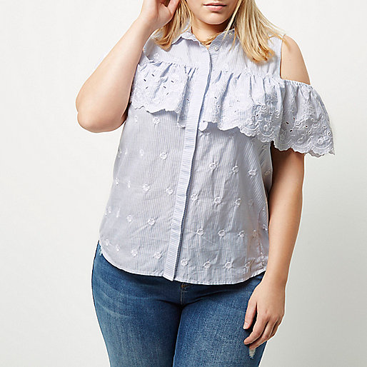 Plus blue stripe frill cold shoulder shirt