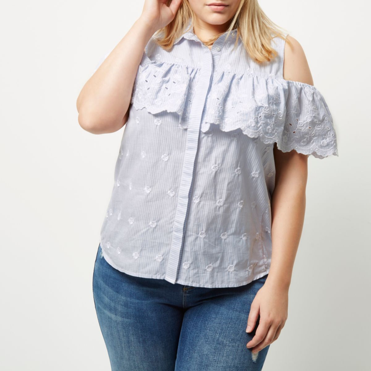 Plus blue stripe frill cold shoulder shirt