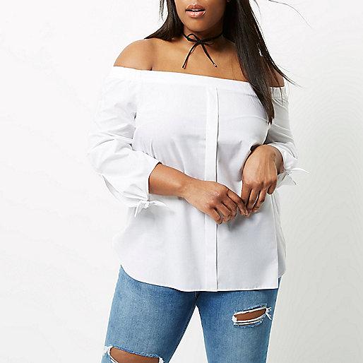 Plus white tie sleeve bardot shirt