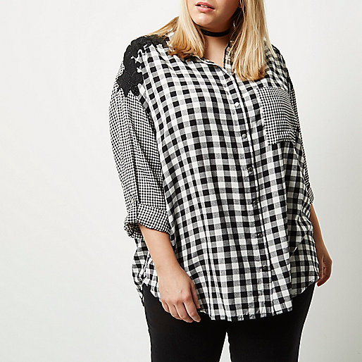 Plus mixed gingham print shirt